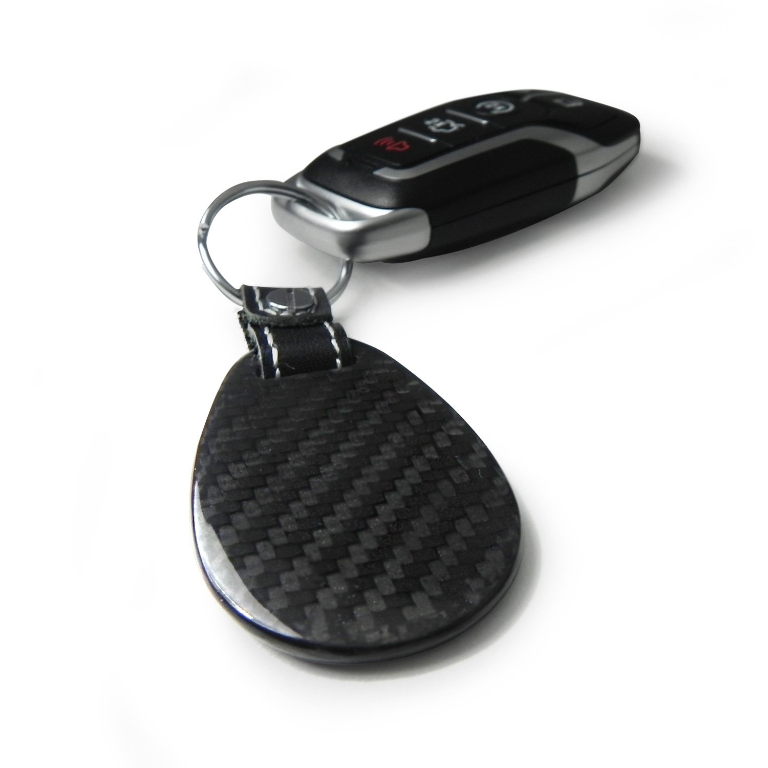 Honda Civic 100/% Real Carbon Fiber Large Tear Drop Key Chain iPick Image