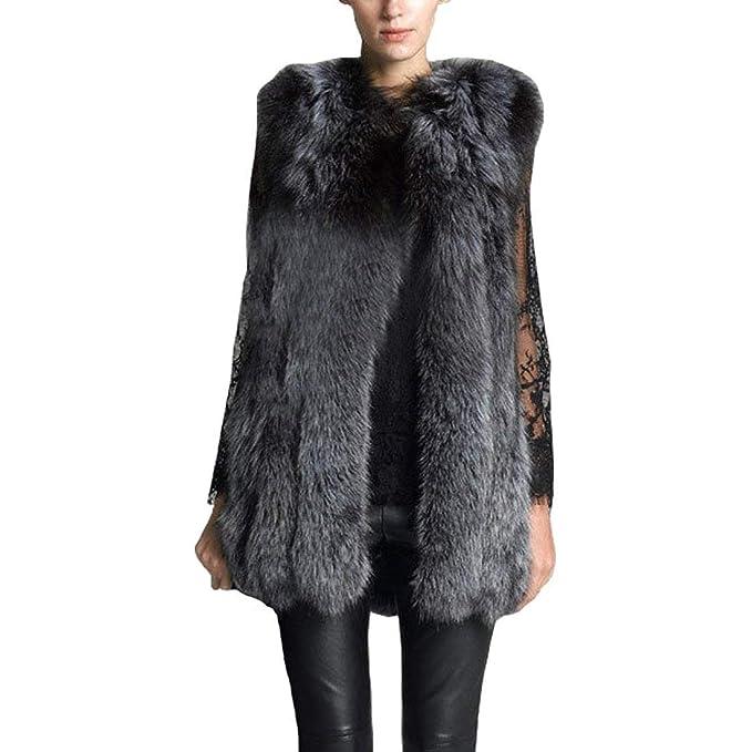 Laisla fashion Chaleco De Piel Mujer Piel Sintética Sin ...