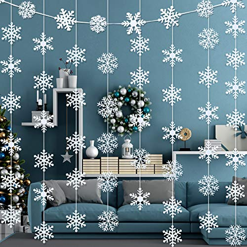 10 Sets Christmas Snowflake Hanging Garland White Snowflakes Decorations Winter Frozen Birthday Party Supplies Decorations (Decorations Ideas White Snow)