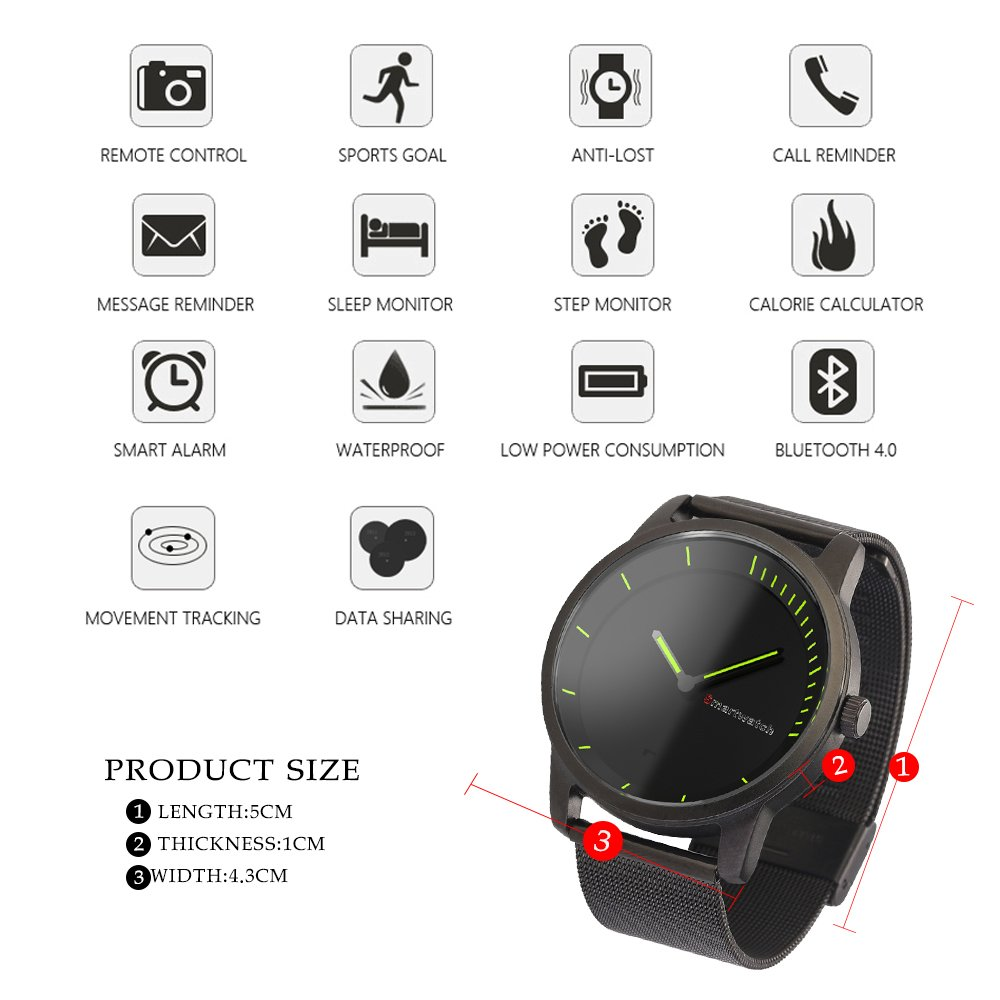 Bluetooth smartwatch evershop 1.4 inches IPS Round Water Resistant with Sleep Monitor, Pedometer, Remote camera for IOS and Android Device (Black)