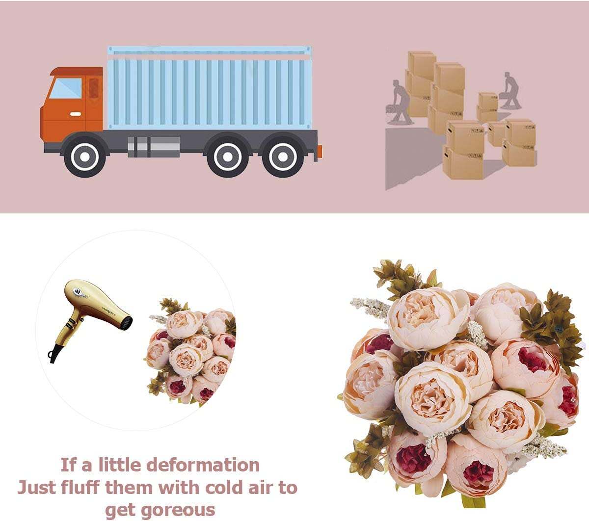 ANWBROAD Artificial Peony Flower Vintage Fake Flowers Bouquets 2 PACK Realistic Silk Peonies Flowers Bouquet Home Wedding Office Party Decoration Floral Arrangements Centerpieces champagne Light pink