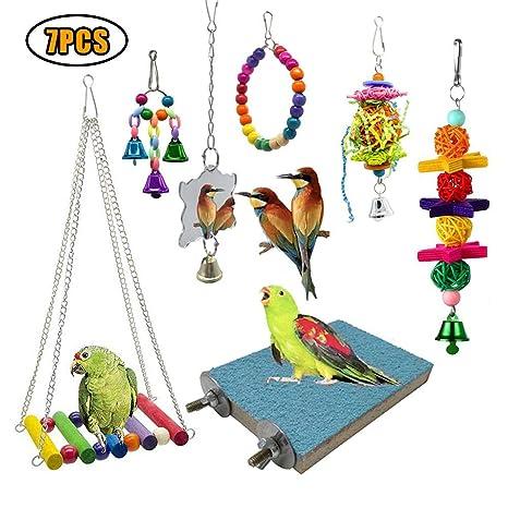 7 Unidades Juguetes para Pájaros Columpio Colorido para Loros ...