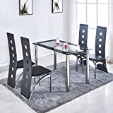 Amazoncom Glass Table Chair Sets Kitchen Dining Room - All glass dining room table