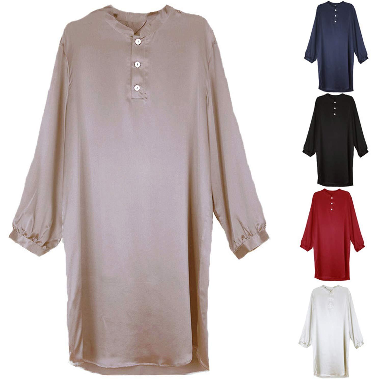 Susan1999-Mens Robe Men Silk Satin Robe Pajamas Long Sleeve Solid Bathrobe Men Homewear Sleepwear Soft Casual Suit