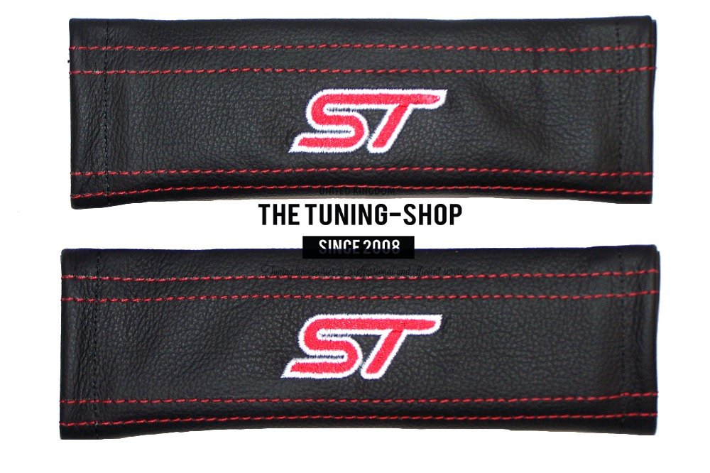 The Tuning-Shop Ltd 2 x Seat Belt Covers Pads Leather ST Red Embroidery Edition