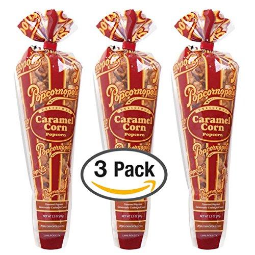Popcornopolis Gourmet Popcorn - 3 Caramel Corn Cones - Small Storage Space Friendly & Great Stocking Stuffers! 6.6oz (Gourmet Caramel Popcorn)