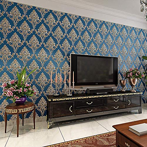 Blooming Wall Textured Damasks Wallpaper Wall Paper Wall Mural for Livingroom Bedroom Kitchen, 20.8 In32.8 Ft=57 Sq Ft/Roll (Blue)