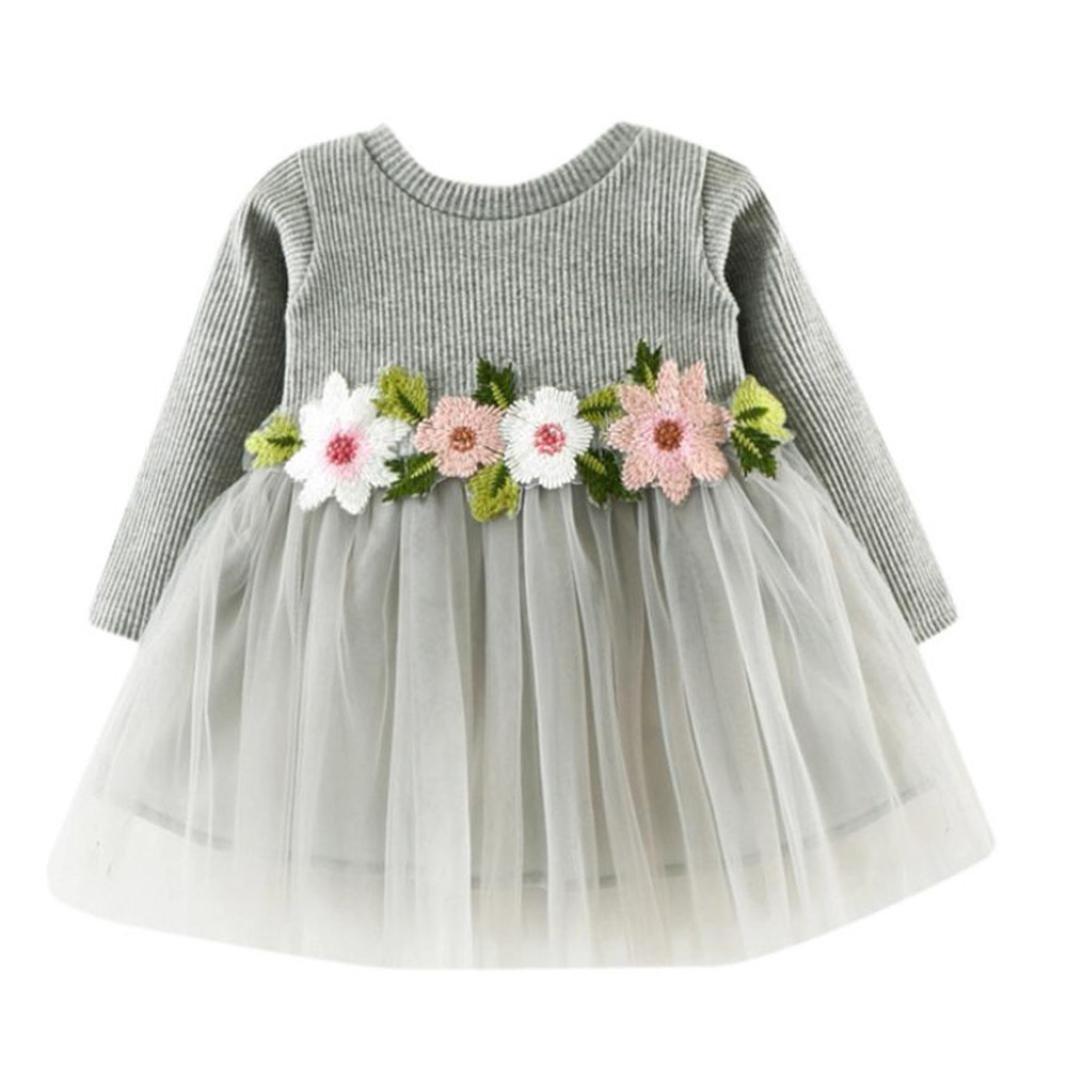 22d740285 Amazon.com: Children Baby Girls Floral Dress, Flower Printing Tutu Party  Wedding Birthday Princess Long Sleeve Mesh Dresses: Clothing