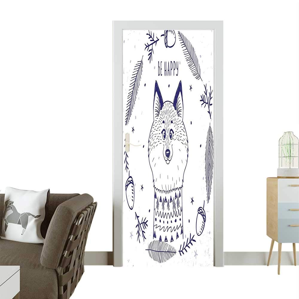color06 W35.4 x H78.7 INCH Homesonne Waterproof Decoration Door Decals His Surfboard and Drinking Sandy Beach in Sunny Day Kids Theme Perfect ornamentW32 x H80 INCH
