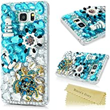 Note 5 Case,Mavis's Diary Luxury 3D Full Handmade Bling Crystal Rhinestone Diamonds Turtles Rudder Compass Castle Fashion Design Shockproof Protective Hard PC Cover Made for Samsung Galaxy Note 5