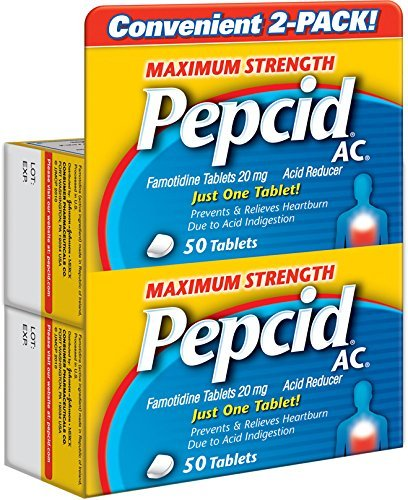 - Pepcid AC Acid Reducer Maximum Strength Tablets, 2 Pack of 50 Count (100 Count Total)