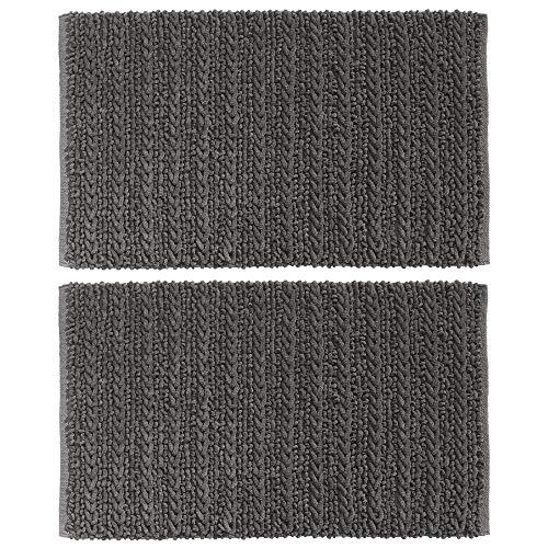 mDesign Soft 100% Cotton Luxury Hotel-Style Rectangular Spa Mat Rug, Plush Water Absorbent - for Bathroom Vanity, Bathtub/Shower, Machine Washable - Braided Design, 34