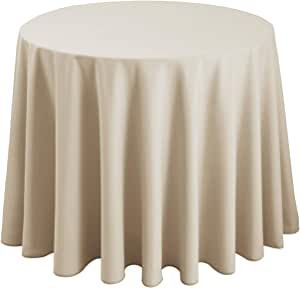 Hiasan Round Tablecloth 120 Inch - Waterproof Stain Resistant Spillproof Polyester Fabric Table Cloth for Dining Room Kitchen Party, Beige