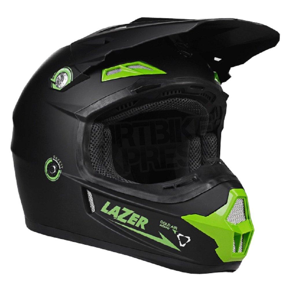 Amazon.es: Casco de motocross Lazer X7 X-Line, casco para moto, scooter, todo terreno, carrera, quad - Color: Negro mate/verde Small Matt Black-Green