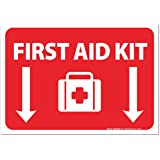 "(2 Pack) First Aid Kit Sign - Self Adhesive 7 X 10"" 4 Mil Vinyl Decal - Indoor & Outdoor Use - UV Protected & Waterproof - Sleek"