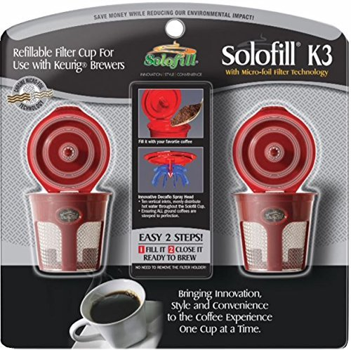 2 Solofill K3 Chrome CUP Chrome Refillable Filter Cup for Keurig-r (RED, - Solofill Cup