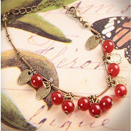 Diamonds Bracelet Sweet (patcharin shop Vintage Copper Sweet Red Cherry Alloy Strand Chain Bracelets for Women Gifts)