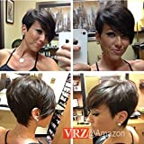 (US) VRZ Short Human Hair Wigs Pixie Cut Black Wig with Side Bang Medium Cap Size None Lace wig Color 1B (XJK)