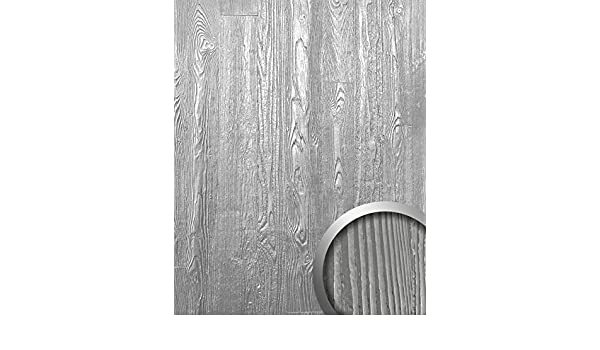 Panel decorativo autoadhesivo diseño madera con relieve 3D WallFace 14808 WOOD Color plata mate y brillante 2,60 m2: Amazon.es: Bricolaje y herramientas