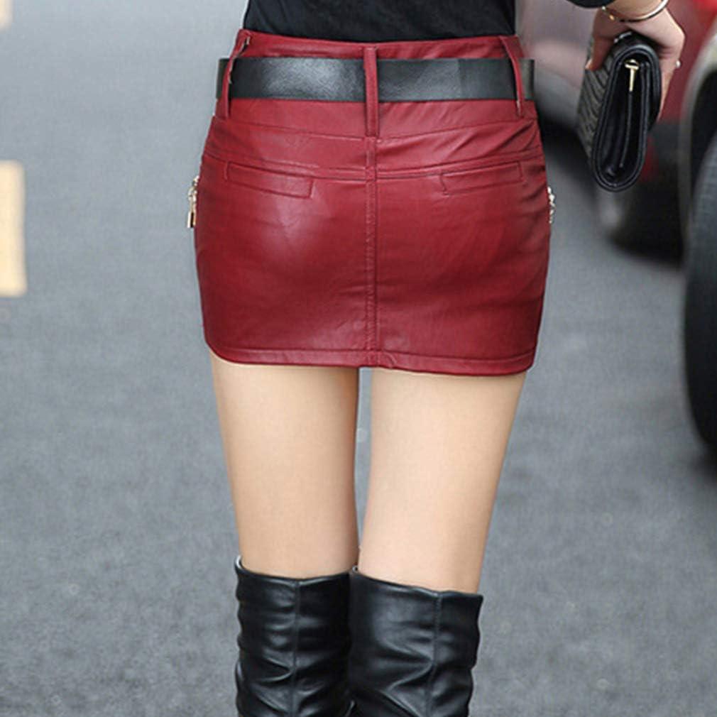Juleya Jupe Femme PU Jupes en Cuir Mini Jupe Courte Taille Haute Jupe Crayon Irr/éguli/ère Jupe De Soir/ée avec Ceinture Tendance Look Jupe