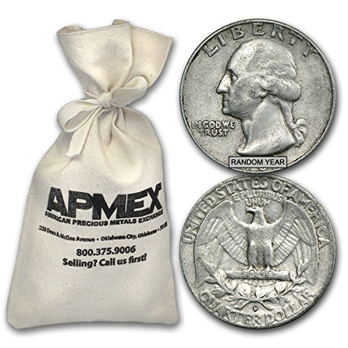 1932 Silver Washington Quarters $50 Face-Value Bag Quarter Brilliant Uncirculated