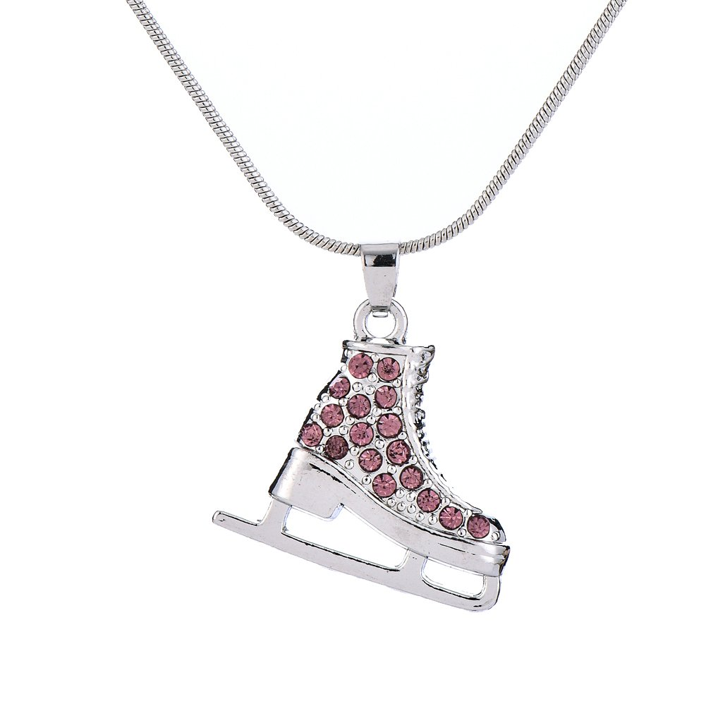 Colorful Crystal Enameled Sports Ice Skate Pendant Jewelry for Men and Womens Necklaces