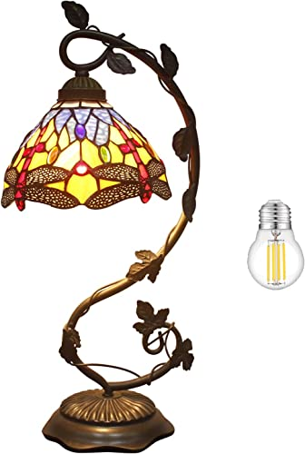 Tiffany Table lamp Bankers W8H21 Inch LED Bulb Included Stained Glass Blue Yellow Crystal Bead Dragonfly Style Shade S168 WERFACTORY Bedside Desk Reading Light Living Room Bedroom Bar Art Crafts Gifts