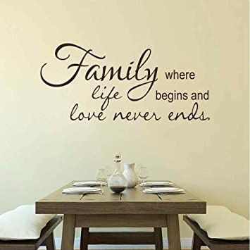 Familia pared vinilo citas - familia donde vida comienza y el amor ...