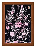 "Cutout picture Japanese art collage KIRIE ""Seven Lucky God"" Seven Deities(Gods) of Good Fortune Made by Washi(Japanese paper) Cherry-blossom color, 13"" x 18"""