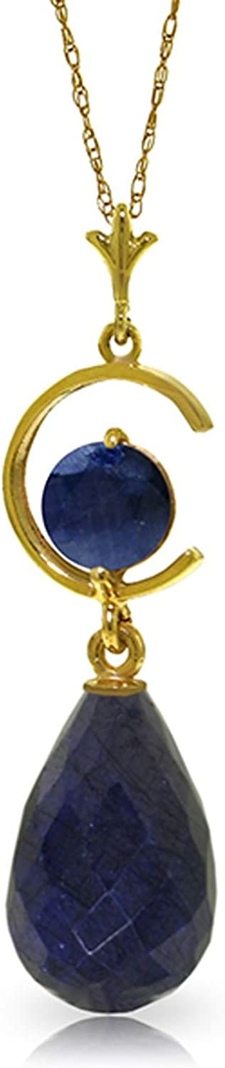 ALARRI 9.3 CTW 14K Solid Gold Fascination Sapphire Necklace with 24 Inch Chain Length