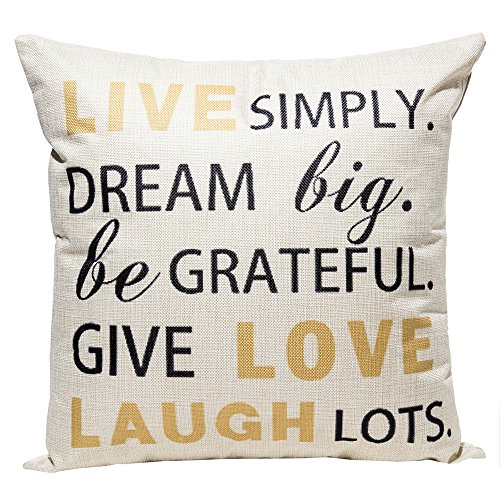 Anickal 18 x 18 Cotton Linen Throw Pillow Case Cover with Live Laugh Love Letters Quote Print