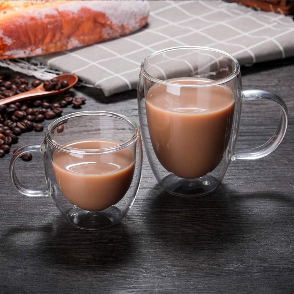 Bicchieri da caff/è a doppia parete con manico trasparenti e isolanti FGASAD regali adatti per ufficio feste 250 ML Piccolo tipo A