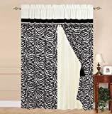 Cheap 3-Layer Black / White Zebra Window Curtain / Drape Set with attached Valance and Sheer Backing