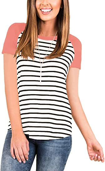 TOPBIGGER Womens Striped Tops O Neck Baseball Tee Shirts Short Sleeve Blouse Color Block Tunic Tops with Pocket