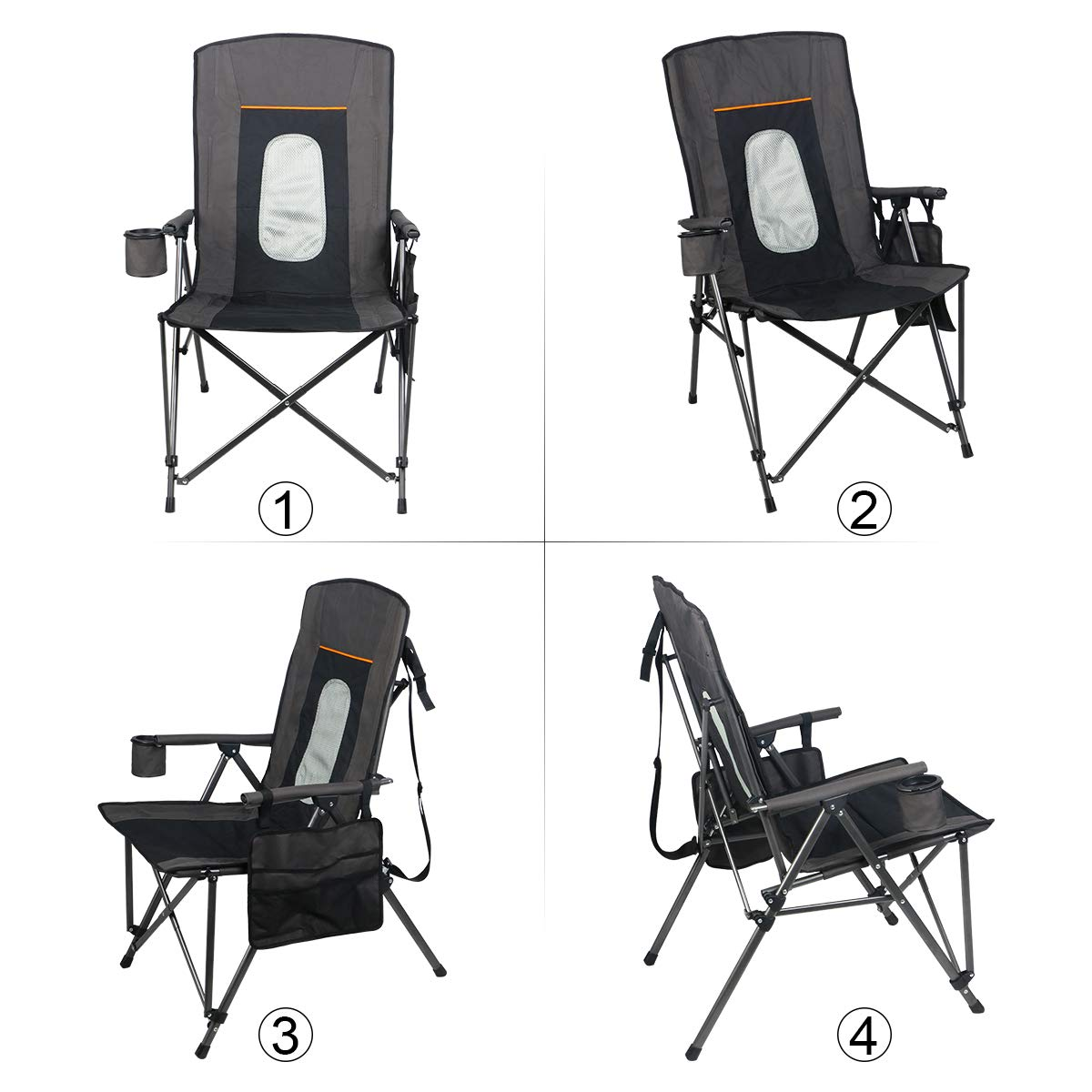 PORTAL Oversized Quad Folding Camping Chair High Back Cup Holder Hard Armrest Storage Pockets Carry Bag Included Support 300 lbs Hengfeng