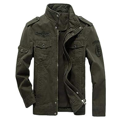 0e6bef6dd1 WEEN CHARM Mens Casual Cotton Military Jackets Outdoor Coat Windproof  Windbreaker Jacket