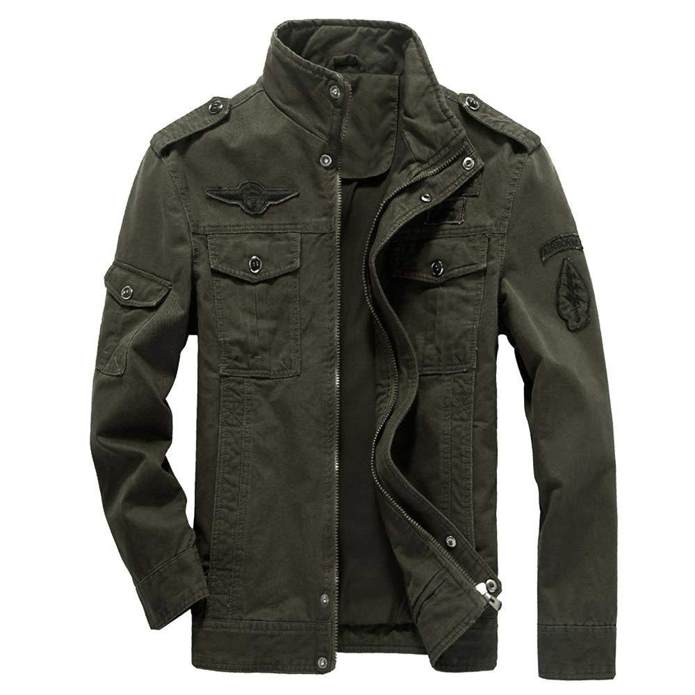 WEEN CHARM Mens Military Jacket Casual Cotton Outdoor Windbreaker Jacket