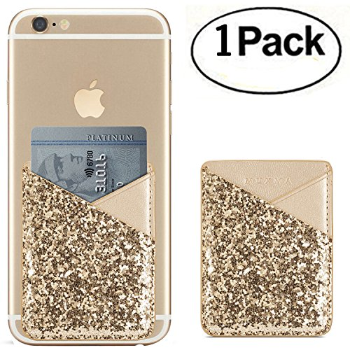 Phone Card Holder 3M Adhesive Stick-on ID Credit Card Wallet Phone Case Pouch Sleeve Pocket for Most of Smartphones(iPhone/Android/Samsung Galaxy) - (Gold)