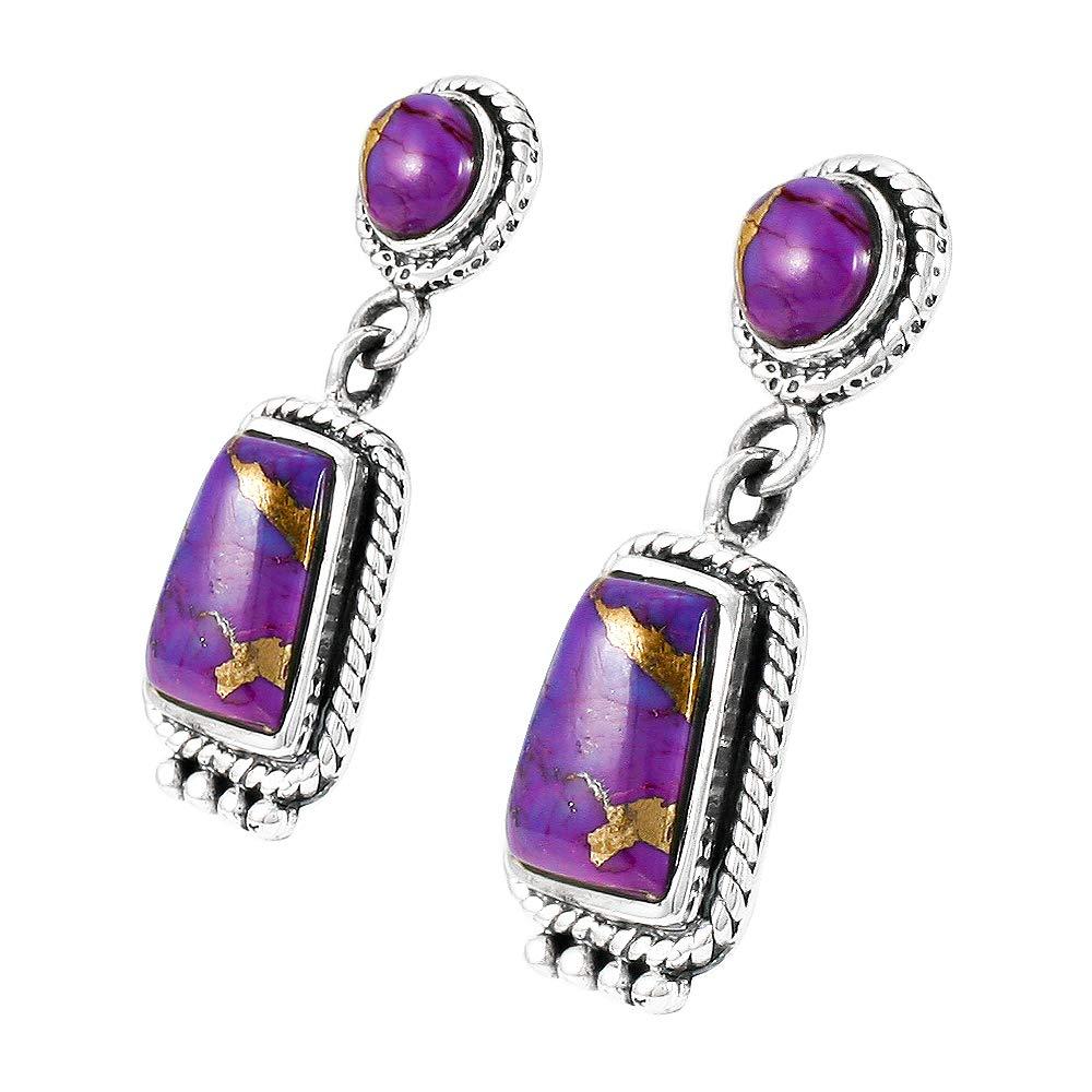 Purple Turquoise Earrings Sterling Silver 925 Choose Style