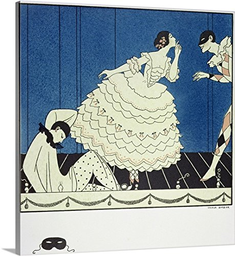 Commedia Dellarte Lovers Costumes (George Barbier Gallery-Wrapped Canvas entitled Tamara Karsavina as Columbine, Vaslav Nijinsky as Harlequin and Adolph Bolm as Pierrot)