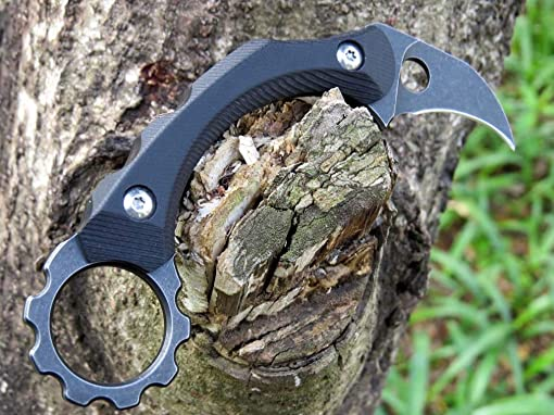 Canku C1105 Fixed Blade Knife Tactical Knife D2 Blade, Stainless Steel Handle Knife Kydex Sheath, Karambit Claw Knife for Outdoor Hunting, Survival, Tactical,Adventure and EDC Tool