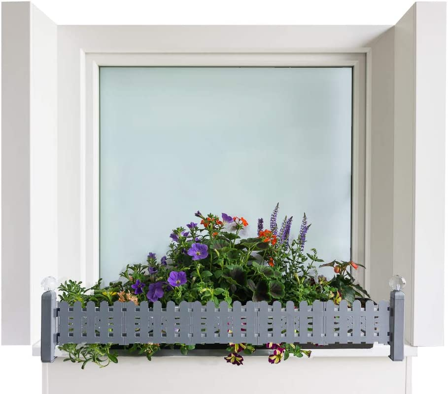 Green Creations Porta Cajas de Flores Masu Basic Set Encaja en Cada alféizar de 78 cm a 140 cm sin perforar, sin dañar la fachada, (Gris, Conjunto Base: Clasico)