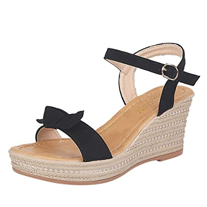 57dbc5fbf4 Amazon.com: Women Espadrilles Wedge Sandal - Ladies Peep Toe Ankle Strap  Buckle Platform Sandals - Summer Casual Dress Shoes: Home & Kitchen