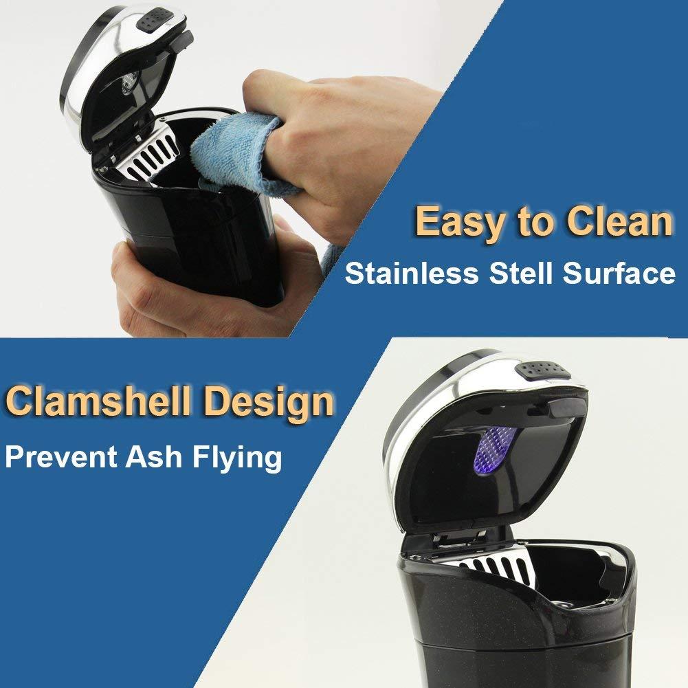 Auto posacenere easy clean Up staccabile in auto posacenere con coperchio blu LED luce e rimovibile con presa per la maggior parte dei portabicchieri auto