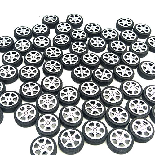 (EUDAX 100pcs Plastic Roll 2mm Dia Shaft Car Truck Model Toys Wheel (30mmx9mm ))