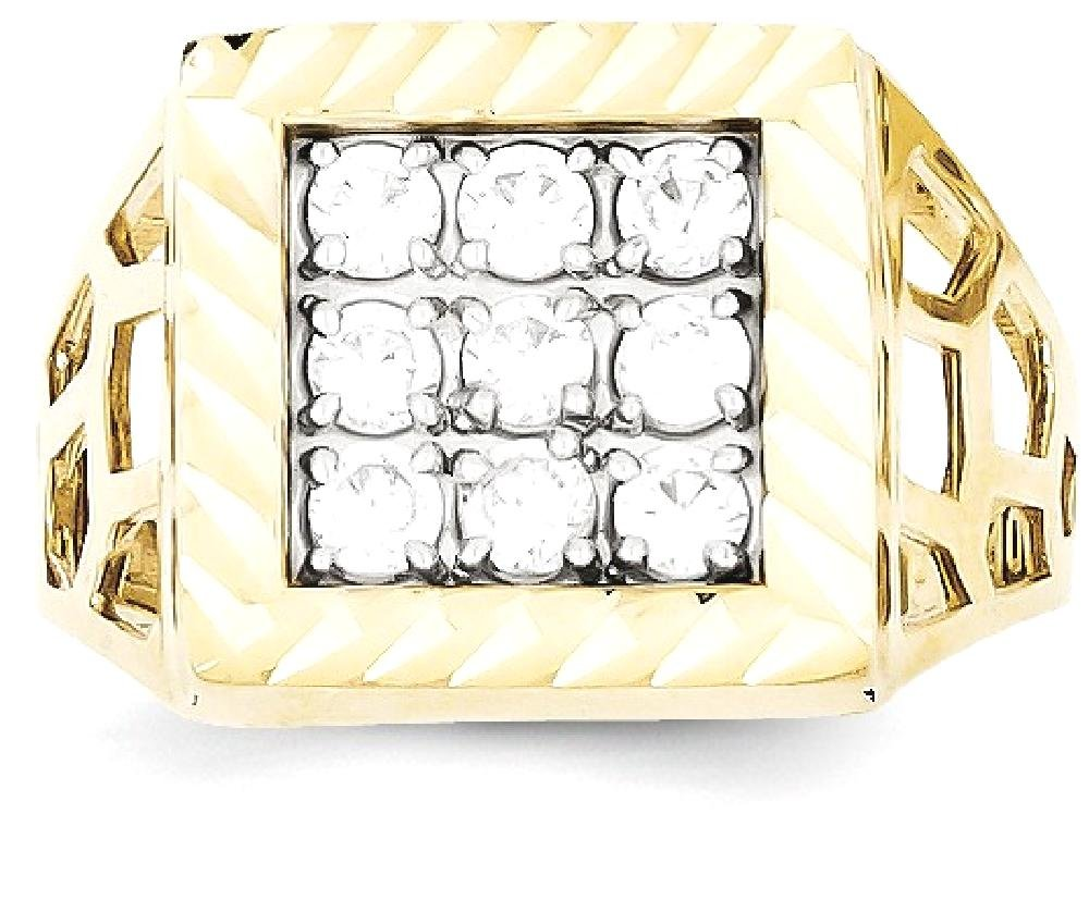 ICE CARATS 10k Yellow Gold Mens Cubic Zirconia Cz Band Ring Size 10.00 Man Fine Jewelry Dad Mens Gift Set