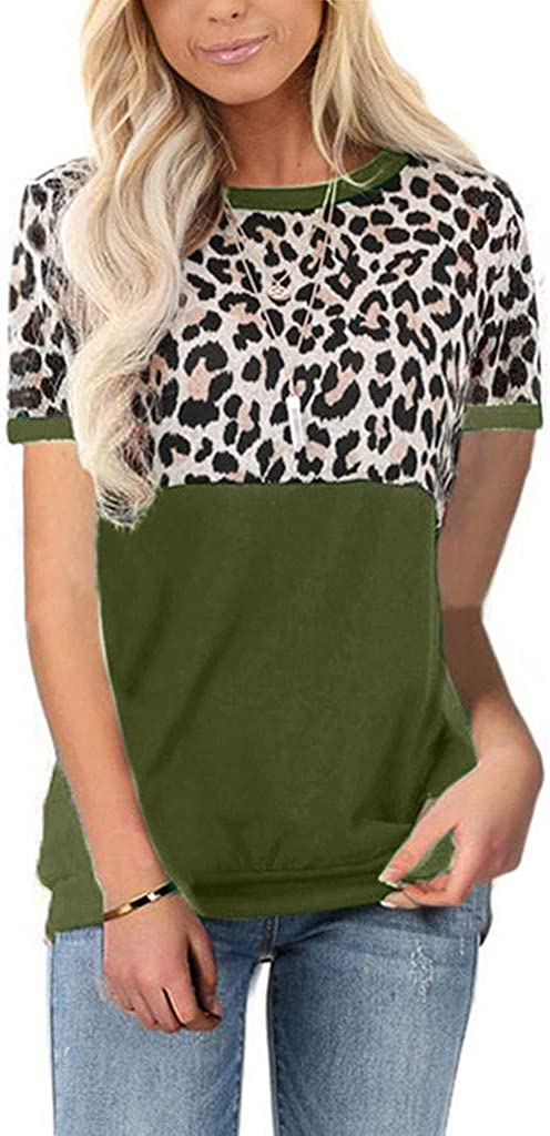 Teresamoon Womens Lightweight Leopard Print Short Sleeve Loose Fit Tunics Shirts Tops