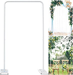 Wedding Arch Stand with Bases,Easy Assembly Sturdy 6.6 x 3.3 Feet Square Garden Arch Metal Abor for Weddings Quinceaneras Party Event Decoration(White)