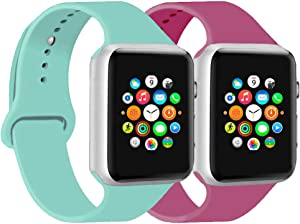 CoJerk Compatible for Apple watch Band 38mm 40mm 42mm 44mm,Replacement Band for iWatch Series 5/4/3/2/1 (Marine green+Dragon fruit, 42mm/44mm-ml)