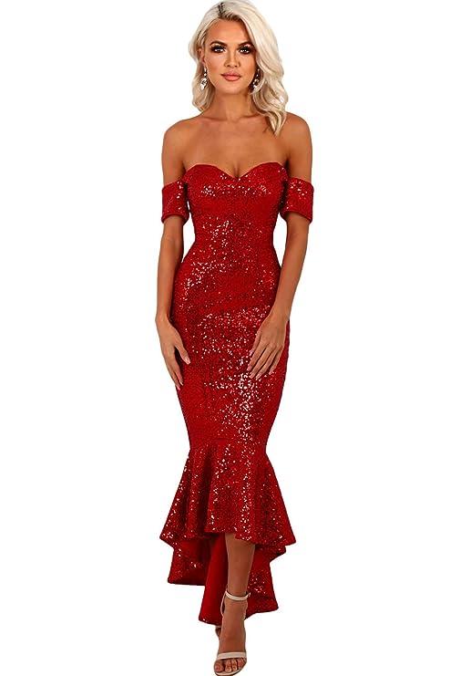 ce9bcb886f25 Nuovo da donna rosso con paillettes off spalla Mermaid Cruise Prom cocktail  abito da sera lungo